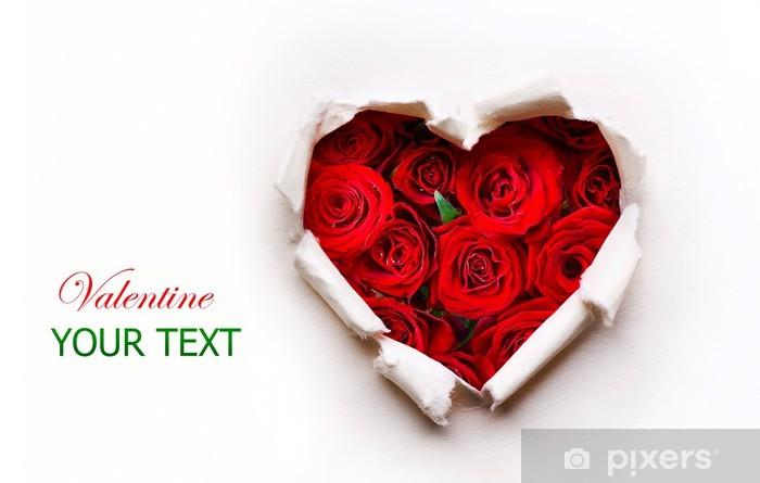 Papier Peint Papier Valentines Coeur Avec Rose Rouge Bouquet De