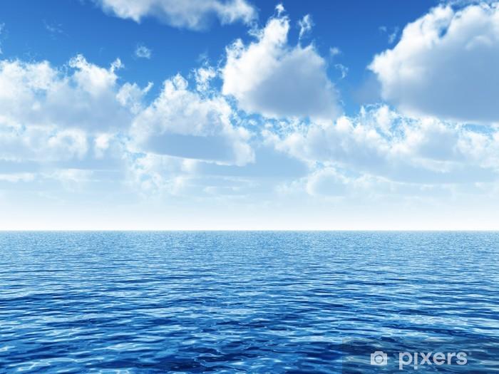 Sticker Pixerstick Ciel bleu nuageux au-dessus d'une surface bleue de la mer - Thèmes