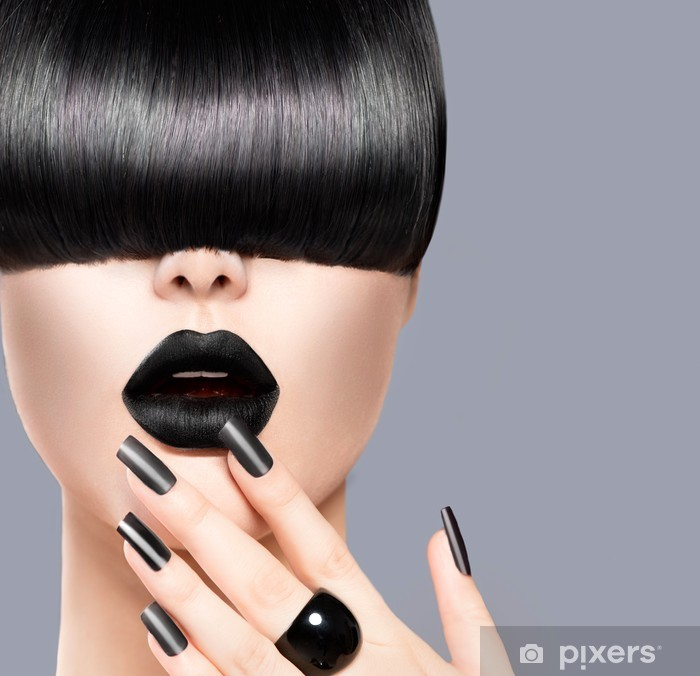 Beauty Girl Portrait with Trendy Hairstyle, Black Lips and Nails Vinyl Wall Mural - iStaging