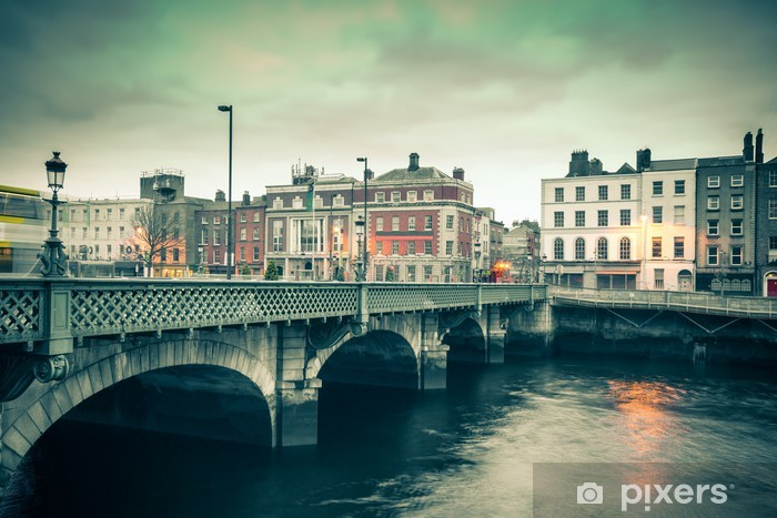 Vintage style view of Dublin Ireland Grattan Bridge Vinyl Wall Mural - Themes