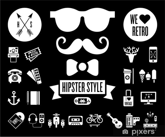 Pixerstick Sticker Hipster icon set - Snor