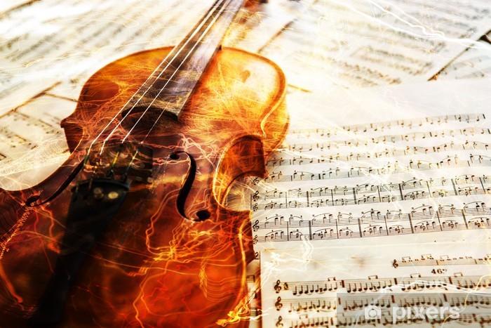 Vinyl Fotobehang Oude viool liggend op het blad van de muziek - Muziek