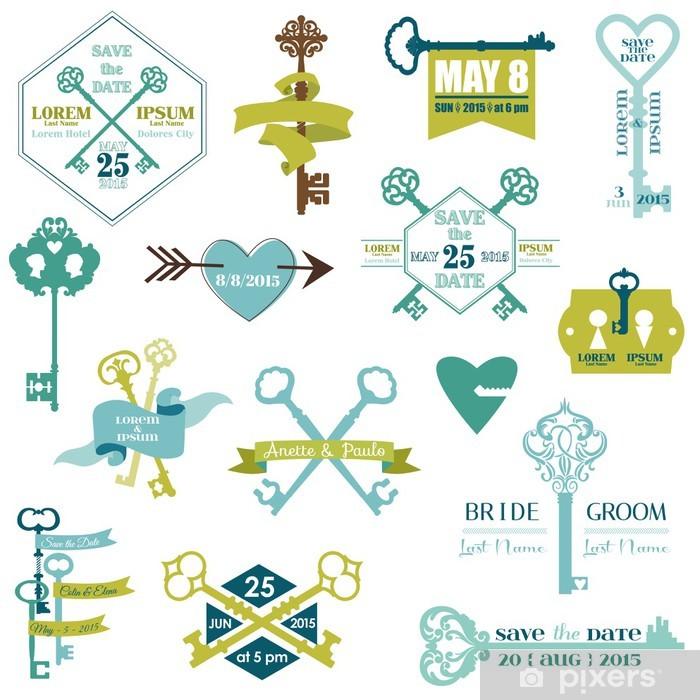 Aufkleber Set Hochzeitskarten Und Save The Date Key Theme In Vektor Pixerstick