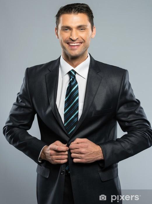Fotomural Estándar Apuesto Hombre Bien Vestido En Traje Negro Y Corbata