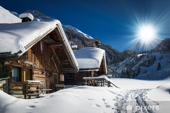 winter ski chalet and cabin in snow mountain landscape in tyrol Vinyl Wall Mural - iStaging