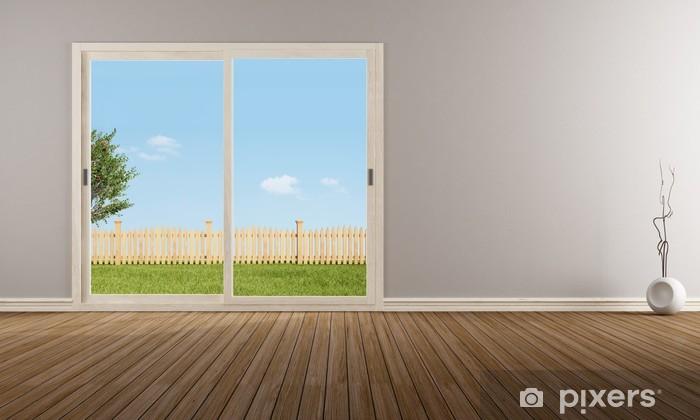 Attrayant Papier Peint Fenêtre Coulissante Fermée Dans Une Chambre Vide