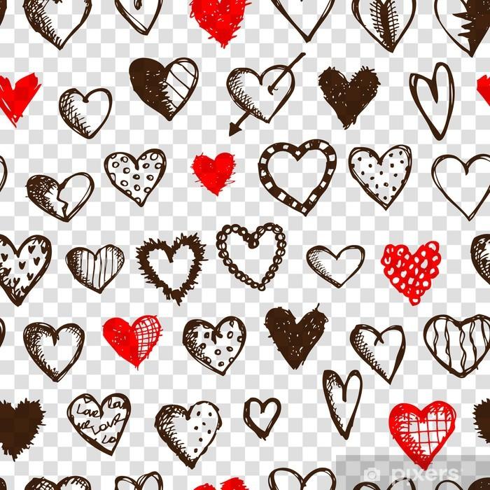Carta da Parati in Vinile Seamless pattern con cuori di San Valentino per il vostro disegno - Feste Internazionali