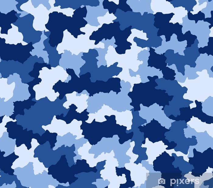 Blue camouflage seamless pattern Vinyl Wall Mural - Themes