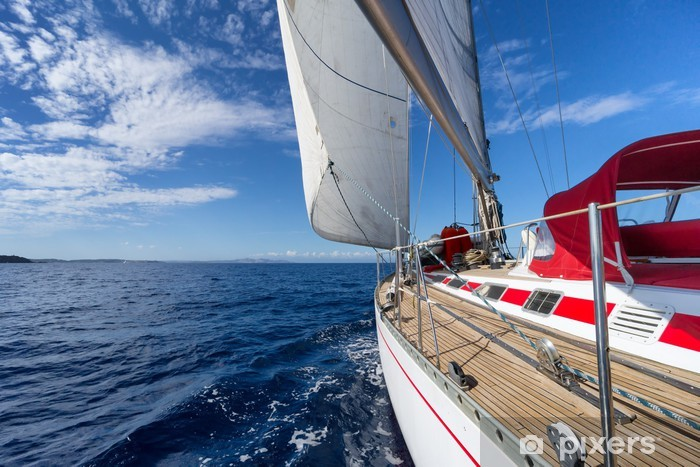 Sailing yacht in blue sea Pixerstick Sticker - Sea and ocean