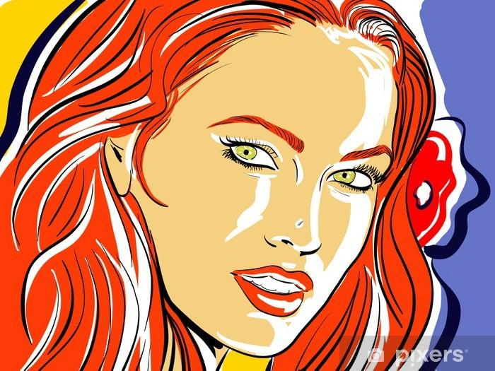 Adesivo Donna, capelli rossi schizzo di colore • Pixers ...