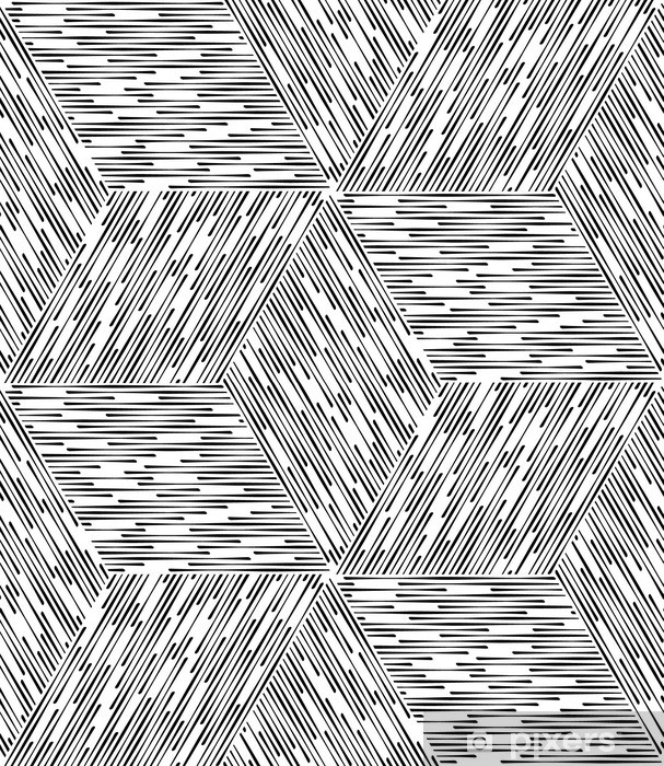 Black and White Abstract Geometric Vector Seamless Pattern Backg Wall Mural  - Vinyl