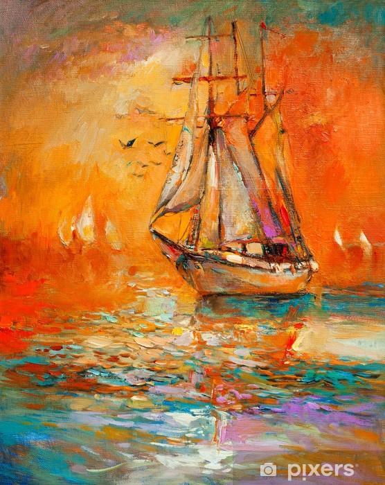 Nálepka Pixerstick Loď v oceánu - Umění a tvorba