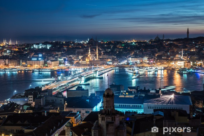 Fototapeta zmywalna Most Galata Istanbul Bosphorus noc - Bliski Wschód