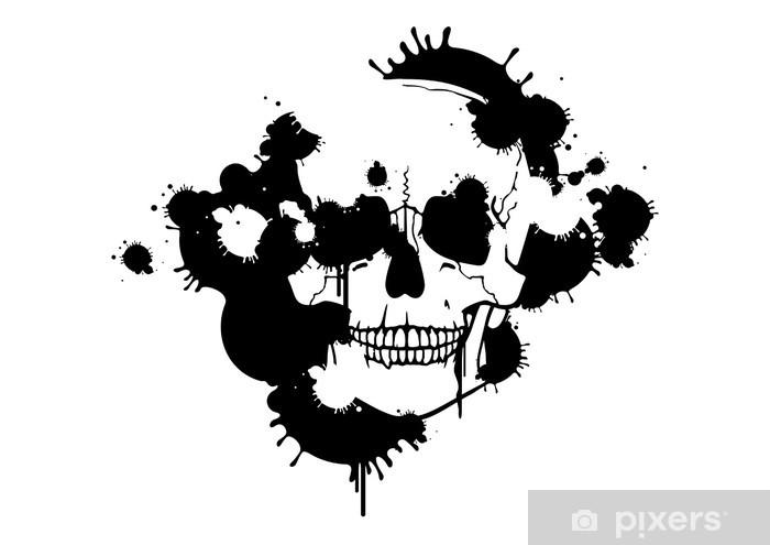 Sticker Pixerstick Taches d'encre créant une silhouette de crâne - Fêtes internationales
