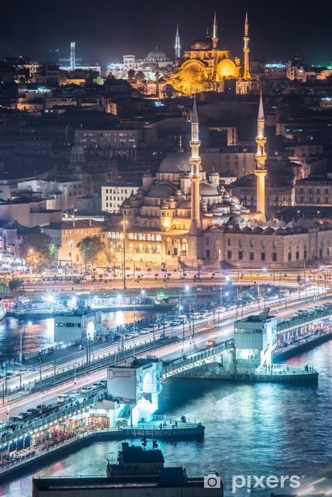 Fotomural Estándar La noche del puente del Bósforo de Estambul verticales - Viajes