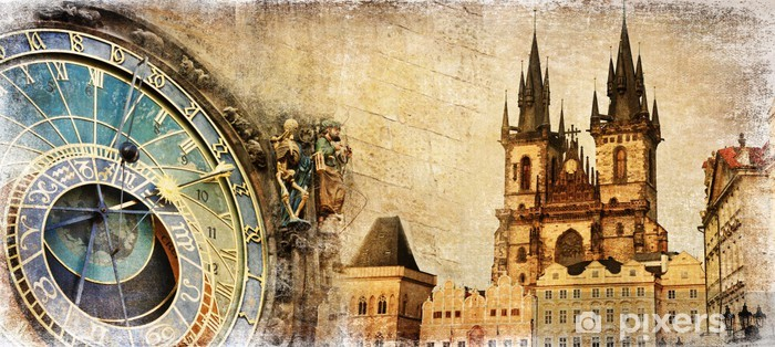 Fotomural Estándar Old Prague - tarjeta vintage artístico - Praga