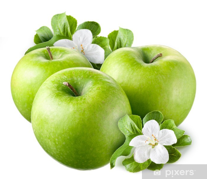 Green apples with leaves and flowers on white background Poster - Fruit