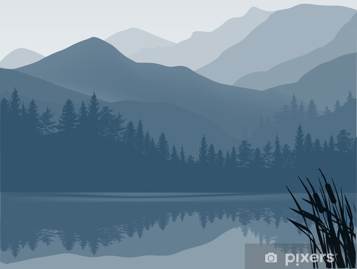 Blue And Grey Lake In Mountain Forest Wall Mural Pixers