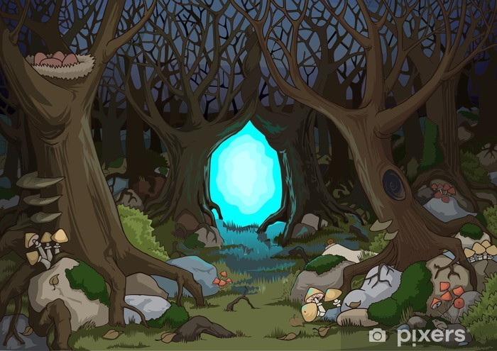 Magical forest with a mystical portal Wall Mural - Vinyl