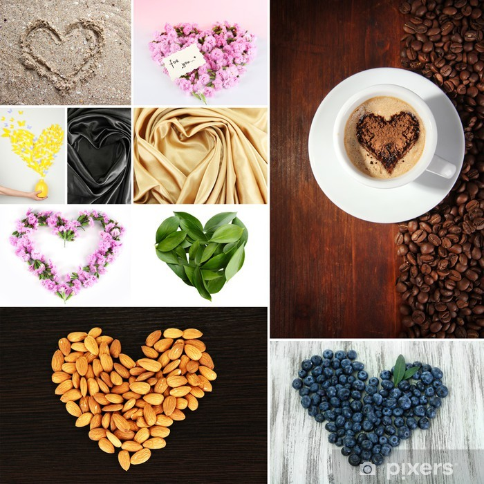Naklejka Pixerstick Kolaż z rzeczy, w kształcie serca - Posiłki