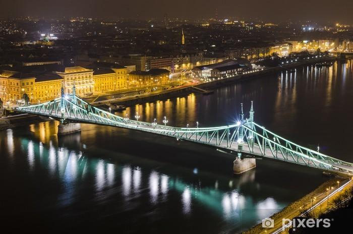 Naklejka Pixerstick Budapeszt, noc, panorama z Mostu Elżbiety - Europa