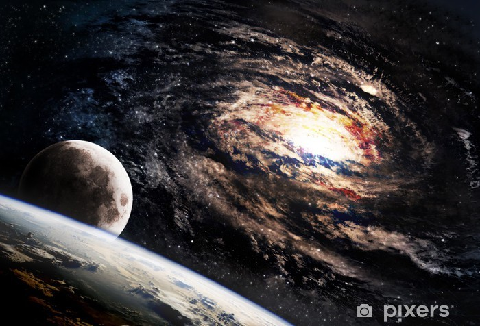 Naklejka Pixerstick Spiralna galaktyka gdzieś w odległej przestrzeni - Wszechświat