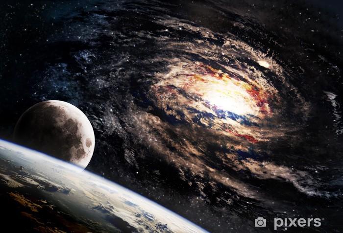 Självhäftande Fototapet Otroligt vackra spiralgalax någonstans i rymden - Universum