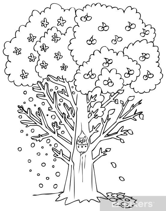 Boyama Dört Mevsim Ağaç Cam Ve Pencere çıkartması Pixers Haydi