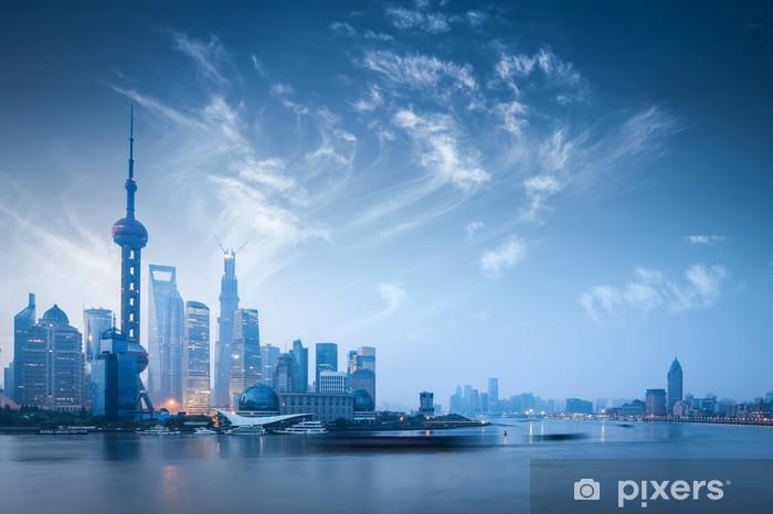 Fotomural Estándar Horizonte de Shangai en el amanecer - Agua
