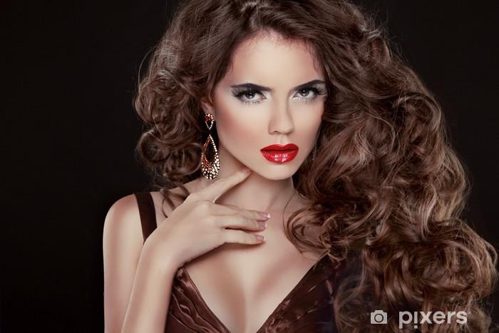 Sticker Pixerstick De beaux cheveux, femme mode portrait. Beauty Girl Modèle avec l - Femmes