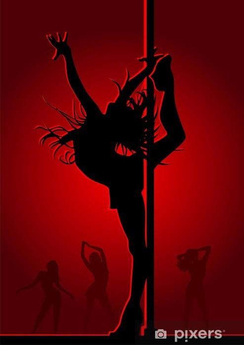 Nálepka Pixerstick Tančící dívka v červeném světle - Žena
