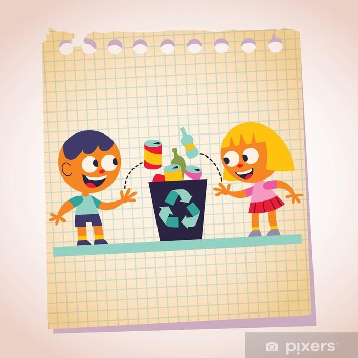 09b490c2b95fff Pixerstick Sticker Jongen en meisje recycling nota cartoon illustratie -  Ecologie