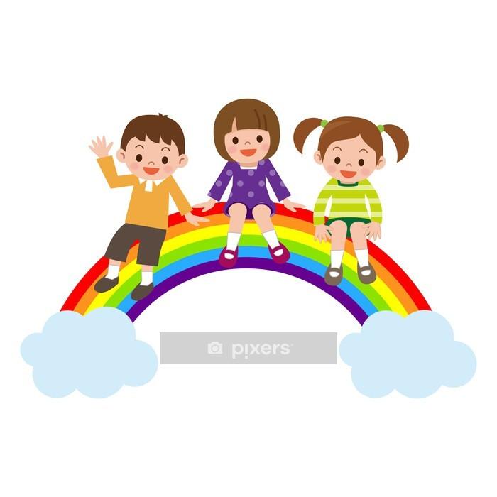 虹に座る子供達 Wall Decal - Wall decals