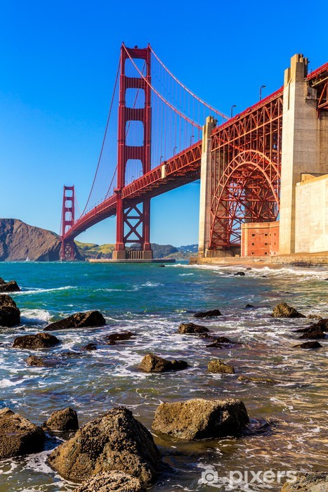 Naklejka Pixerstick San Francisco Golden Gate Bridge Marshall Beach w Kalifornii - Miasta amerykańskie