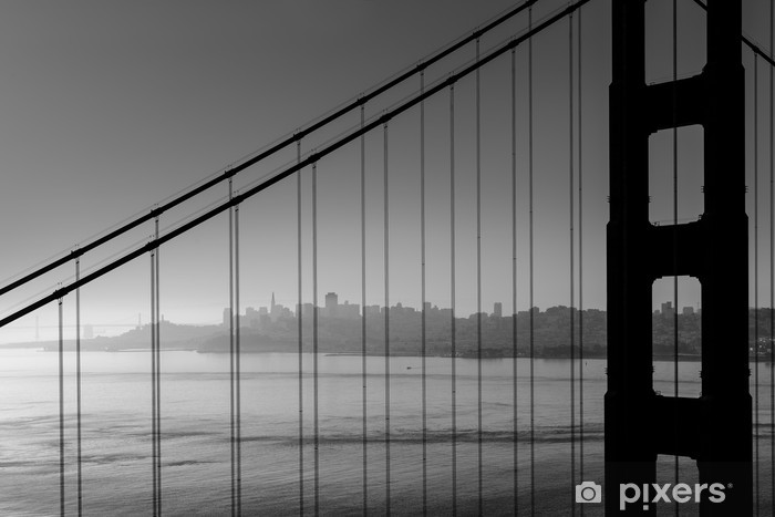 San Francisco Golden Gate Bridge Black And White California Wall Mural Vinyl