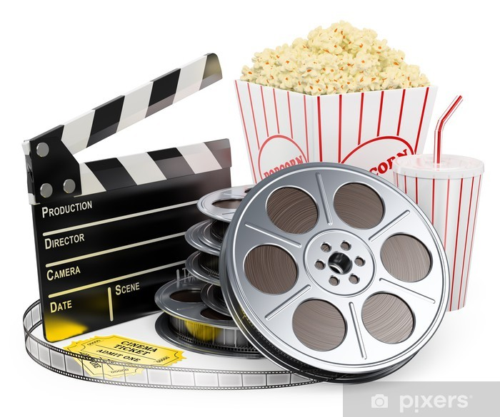 3D white people. Cinema clapper film reel drink and popcorn Pixerstick Sticker - Entertainment