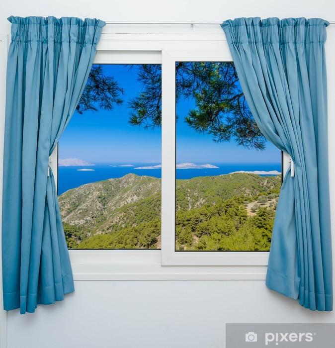 Fototapeta winylowa Pejzaż z widokiem przez okno z zasłonami - Tematy