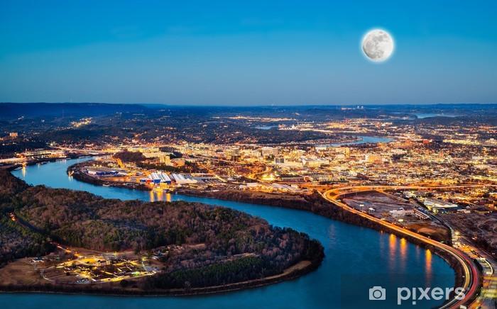 Vinylová fototapeta V centru města Chattanooga v noci, jak je patrné z Lookout Mountain - Vinylová fototapeta
