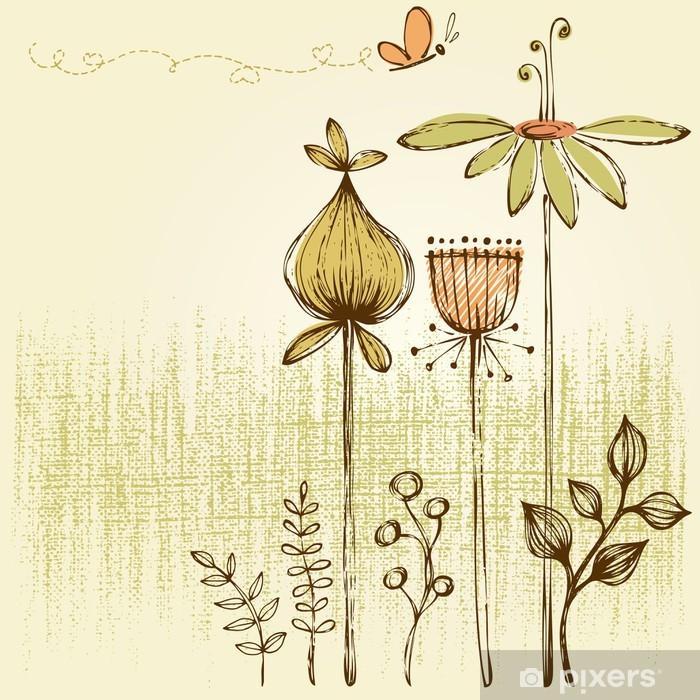 Plakat Retro kwiatu karty - Kwiaty