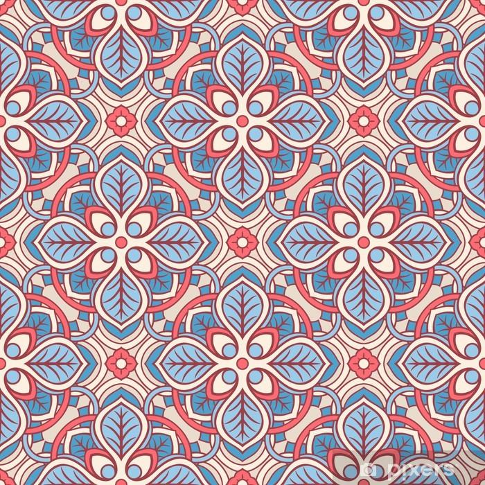Poster Motif floral rose et bleu - Arrière plans