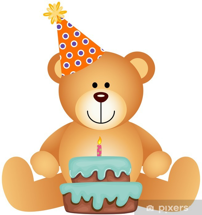 Teddy Bear With Birthday Cake Sticker Pixers We Live To Change