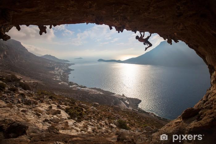 Pixerstick Dekor Silhuetten av en bergsklättrare på solnedgången, Kalymnos, Grekland - Individuella sporter