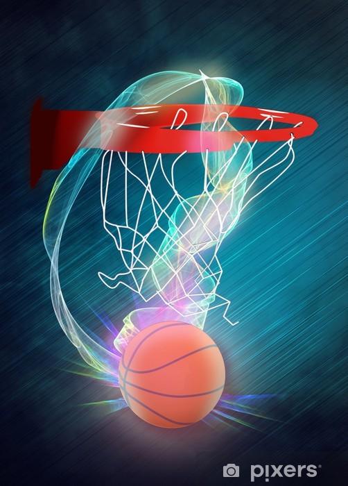 Sticker Pixerstick Baketball cerceau et ballon fond - Sports collectifs