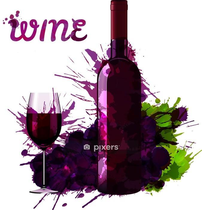 Wandtattoo Weinflasche Glas Und Trauben Mit Grange Spritzern