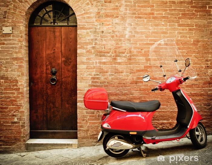 Pixerstick Aufkleber Vintage Bild von roten Roller auf der Straße - Urlaub