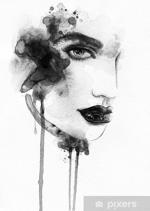 Fototapeta zmywalna Piękna twarz kobiety. Akwarele ilustracji - Tematy