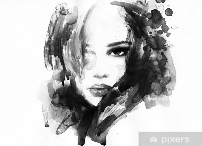 Kaunis nainen kasvot. vesiväri kuva Vinyyli valokuvatapetti -