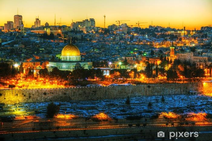 Pixerstick Dekor Översikt över Gamla staden i Jerusalem, Israel -
