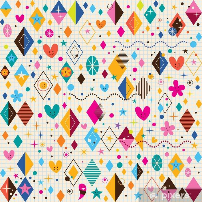 Plakat Słodkie serca, gwiazdy, kwiaty i kształty retro wzór diament - Tła