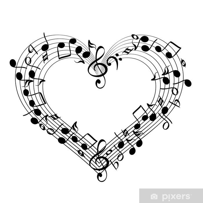Plakat Musikk fra hjerte skisse tegneserie vektor illustrasjon • Pixers® - Vi lever for forandring